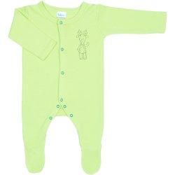Lime green long-sleeve sleep & play with footies with reindeer print - front snaps