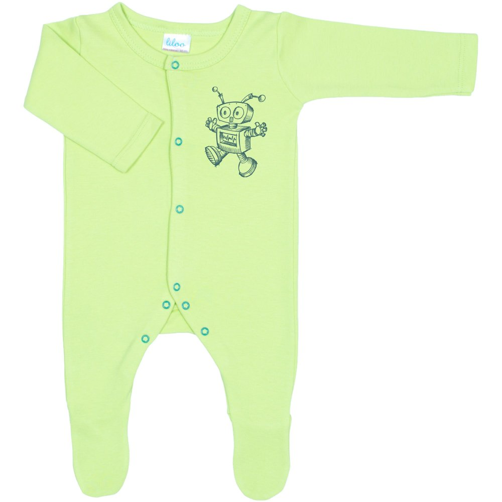 Salopetă mânecă lungă și pantaloni cu botoșei verde lime imprimeu roboțel (închidere frontală) | liloo