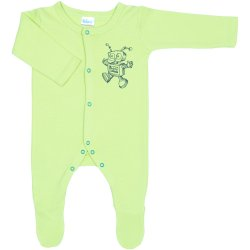 Lime green long-sleeve sleep & play with footies with robot print - center snaps