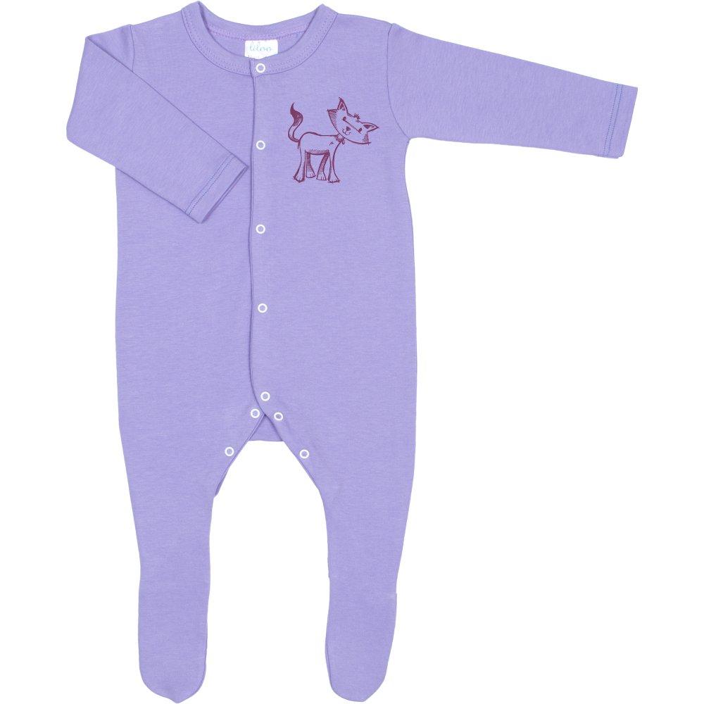 Salopetă mânecă lungă și pantaloni cu botoșei violet imprimeu pisicuță (închidere frontală) | liloo