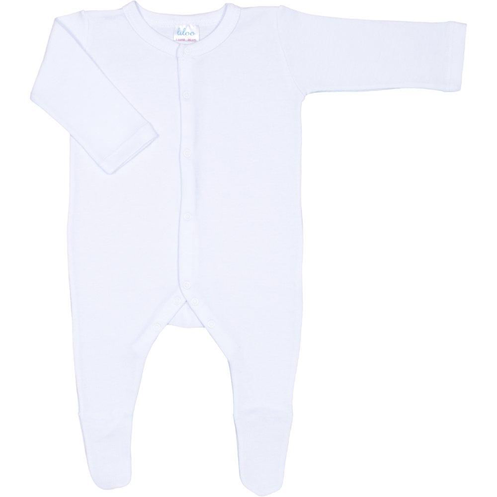 Salopetă mânecă lungă și pantaloni cu botoșei albă uni (deschidere frontală) | liloo