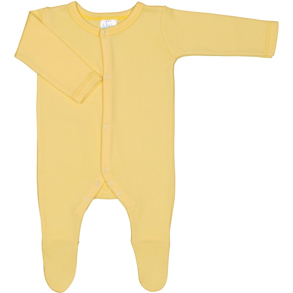Salopetă mânecă lungă și pantaloni cu botoșei galbenă uni | liloo