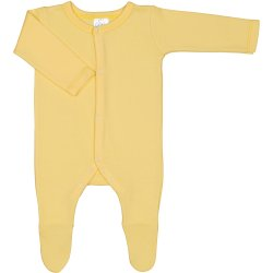 Salopetă mânecă lungă și pantaloni cu botoșei galbenă uni - închidere frontală