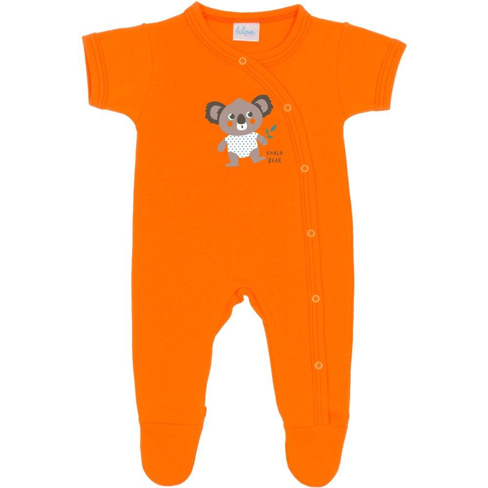 Salopetă mânecă scurtă și pantaloni cu botoșei portocalie imprimeu usuleț koala | liloo