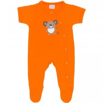 Salopetă mânecă scurtă și pantaloni cu botoșei portocalie imprimeu ursuleț koala