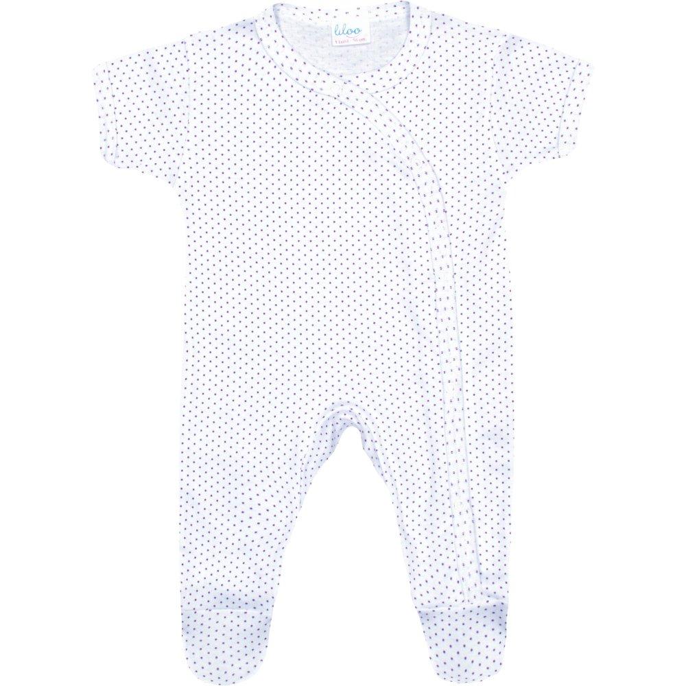 Salopetă mânecă scurtă și pantaloni cu botoșei albă buline mov | liloo