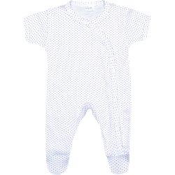 Salopetă mânecă scurtă și pantaloni cu botoșei albă buline mov