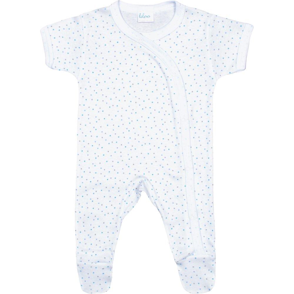 Salopetă mânecă scurtă și pantaloni cu botoșei albă buline multicolore | liloo
