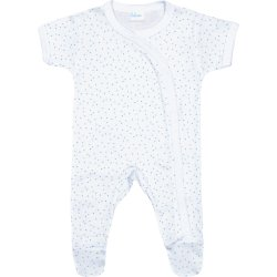 White short-sleeve sleep & play with footies with multicolour dots allover print