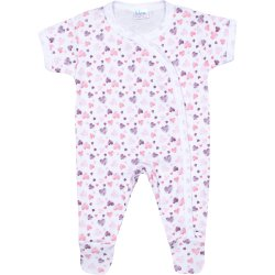 White short-sleeve sleep & play with footies with hearts allover print