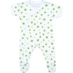 Salopetă mânecă scurtă și pantaloni cu botoșei albă imprimeu model steluțe verzi