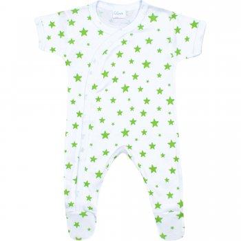 Salopetă mânecă scurtă și pantaloni cu botoșei albă imprimeu model steluțe verzi | liloo