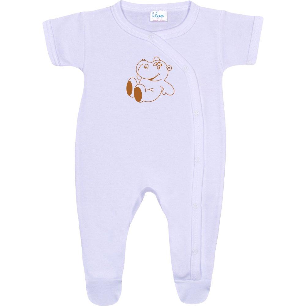 Salopetă mânecă scurtă și pantaloni cu botoșei albă imprimeu hipopotam | liloo