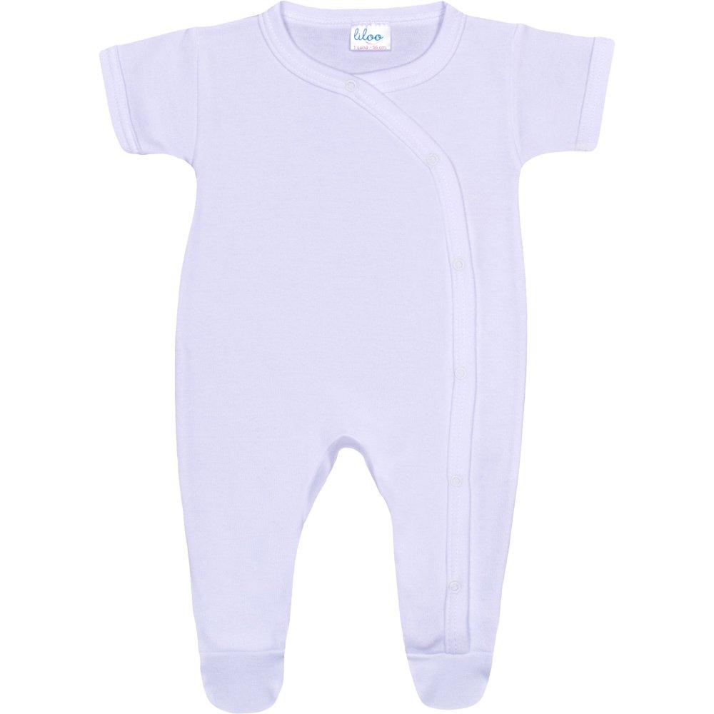 Salopetă mânecă scurtă și pantaloni cu botoșei albă uni | liloo