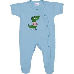 Salopetă mânecă scurtă și pantaloni cu botoșei azur deschis imprimeu aligator