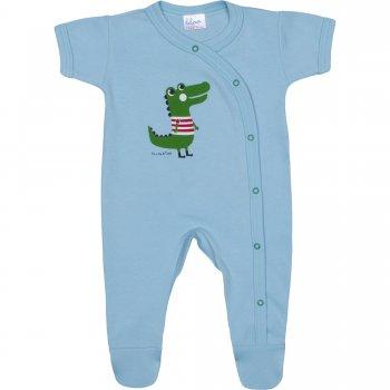 Salopetă mânecă scurtă și pantaloni cu botoșei azur deschis imprimeu aligator | liloo