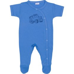 Dark azure short-sleeve sleep & play with footies with 4x4 car print
