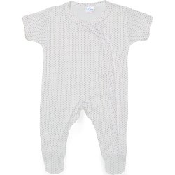 Cream coloured short-sleeve sleep & play with footies with brown dots allover print