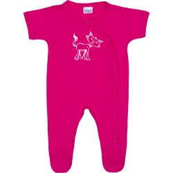 Fuchsia short-sleeve sleep & play with footies with cat print