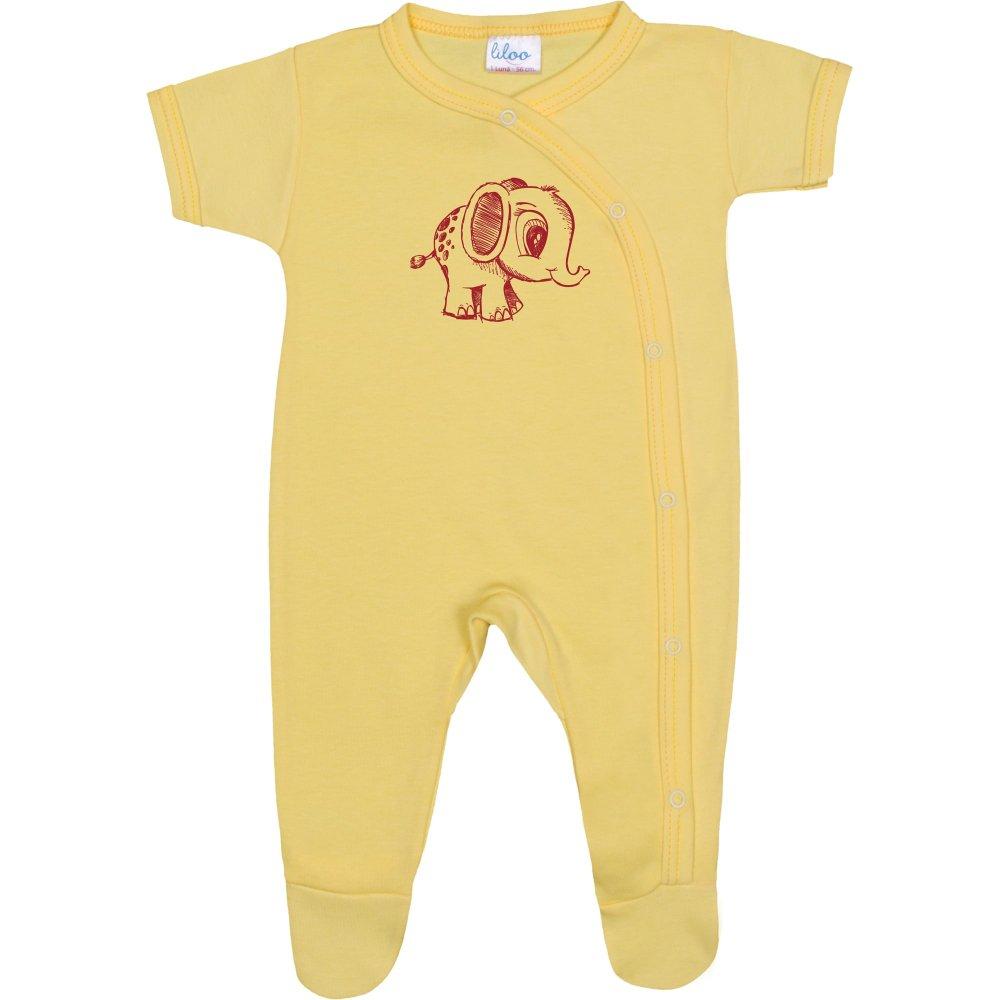 Salopetă mânecă scurtă și pantaloni cu botoșei galbenă imprimeu elefănțel | liloo
