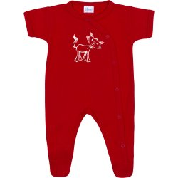 Red short-sleeve sleep & play with footies with cat print