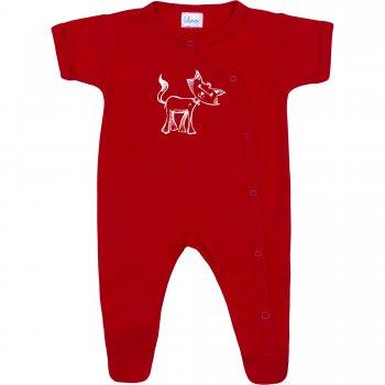 Salopetă mânecă scurtă și pantaloni cu botoșei roșie imprimeu pisicuță | liloo