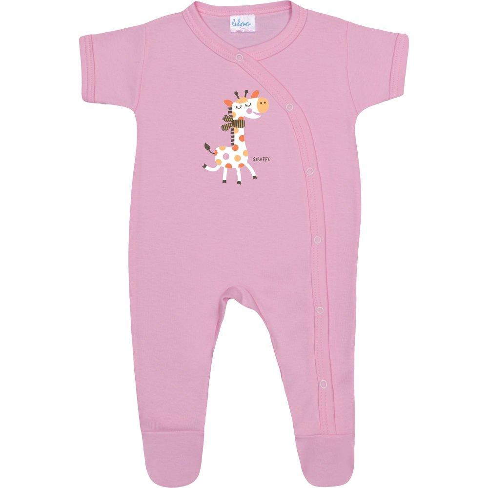 Salopetă mânecă scurtă și pantaloni cu botoșei roz imprimeu girafă | liloo