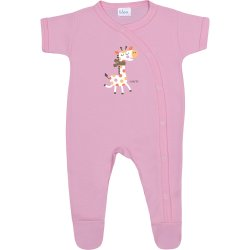 Pink short-sleeve sleep & play with footies with giraffe print