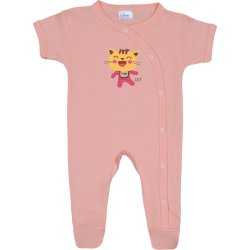 Salmon short-sleeve sleep & play with footies with cool cat print