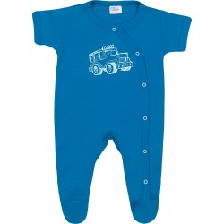 Turquoise short-sleeve sleep & play with footies with 4x4 car print