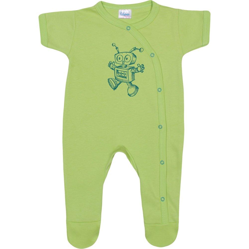 Salopetă mânecă scurtă și pantaloni cu botoșei verde lime imprimeu roboțel | liloo