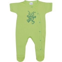 Salopetă mânecă scurtă și pantaloni cu botoșei verde lime imprimeu roboțel