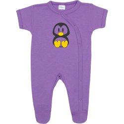 Purple short-sleeve sleep & play with footies with Tux penguin print
