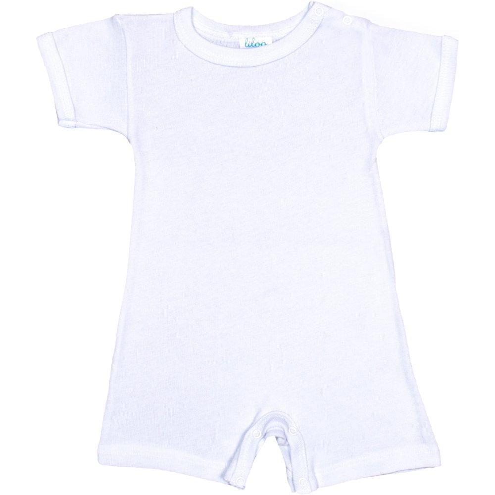 Salopetă mânecă scurtă și pantaloni scurți albă uni | liloo