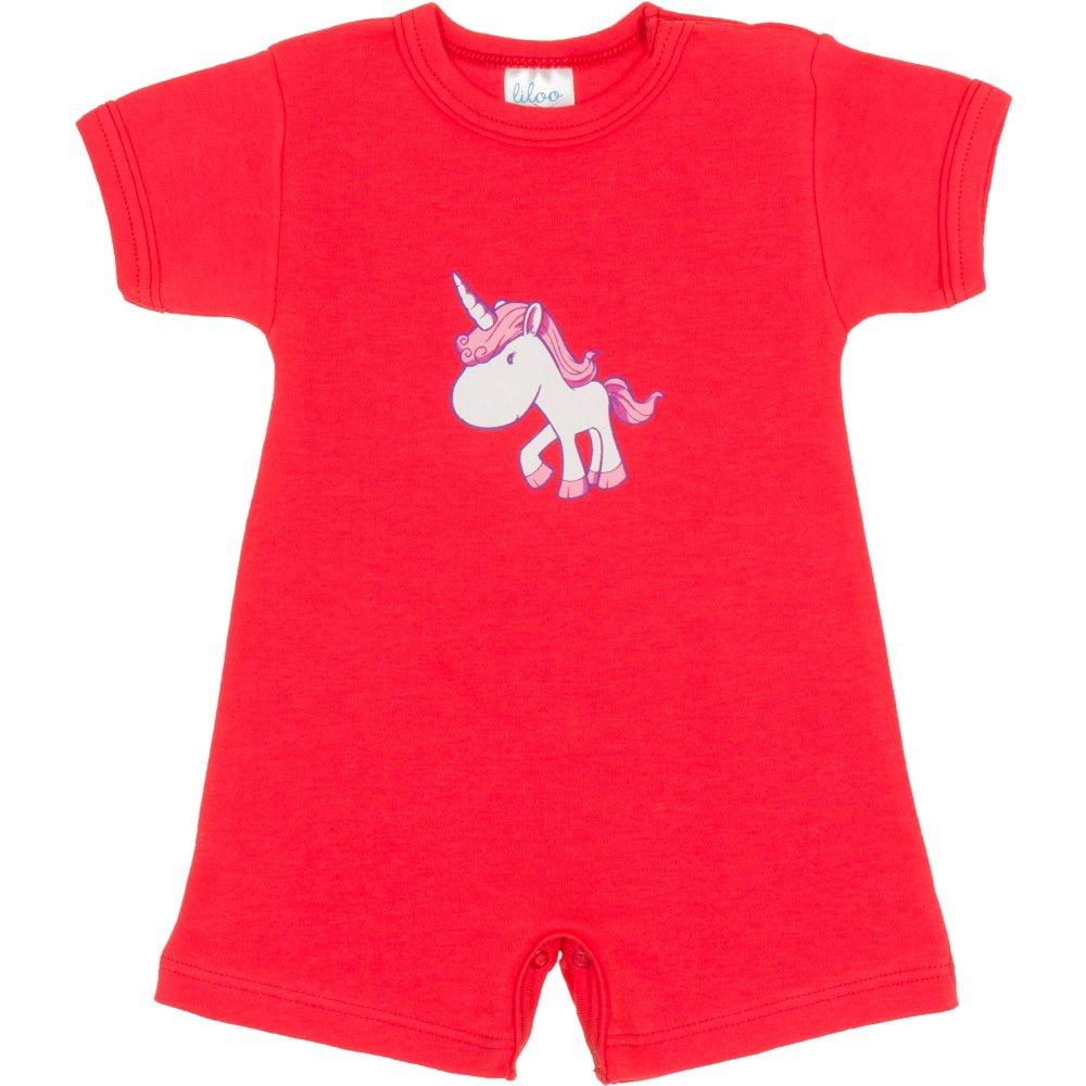 Salopetă mânecă scurtă și pantaloni scurți coral imprimeu unicorn| liloo