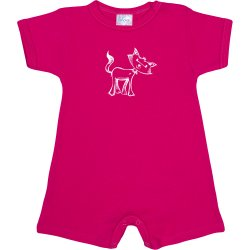 Fuchsia romper (short sleeve & pants) with cat print