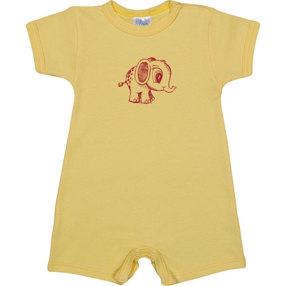 Salopetă mânecă scurtă și pantaloni scurți galbenă imprimeu elefantel | liloo
