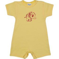 Yellow romper (short sleeve & pants) with little elephant print