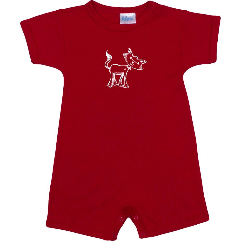 Salopetă mânecă scurtă și pantaloni scurți roșie imprimeu pisicuță| liloo