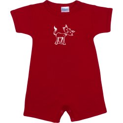 Red romper (short sleeve & pants) with cat print
