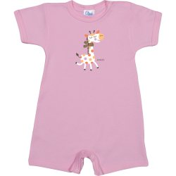 Pink romper (short sleeve & pants) with giraffe print