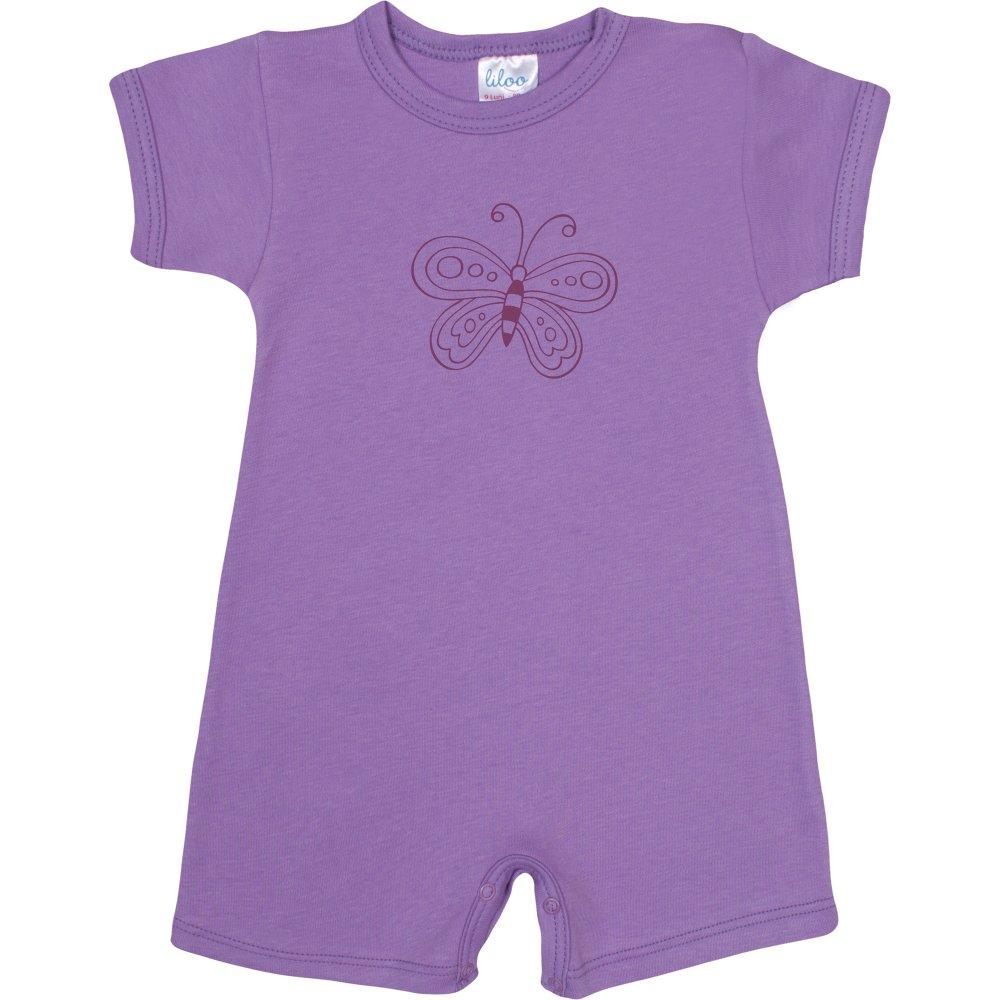 Salopetă mânecă scurtă și pantaloni scurți violet imprimeu fluturaș | liloo
