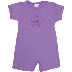 Violet romper (short sleeve & pants) with butterfly print