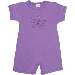 Salopetă mânecă scurtă și pantaloni scurți violet imprimeu fluturaș