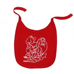 Red bib with cute dwarfs print