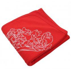 Păturică groasă (dublă) roșie imprimeu pitici