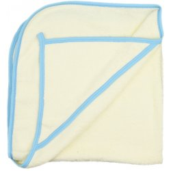 Large ivory hooded towel - azure trim