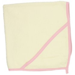 Ivory hooded towel - pink trim