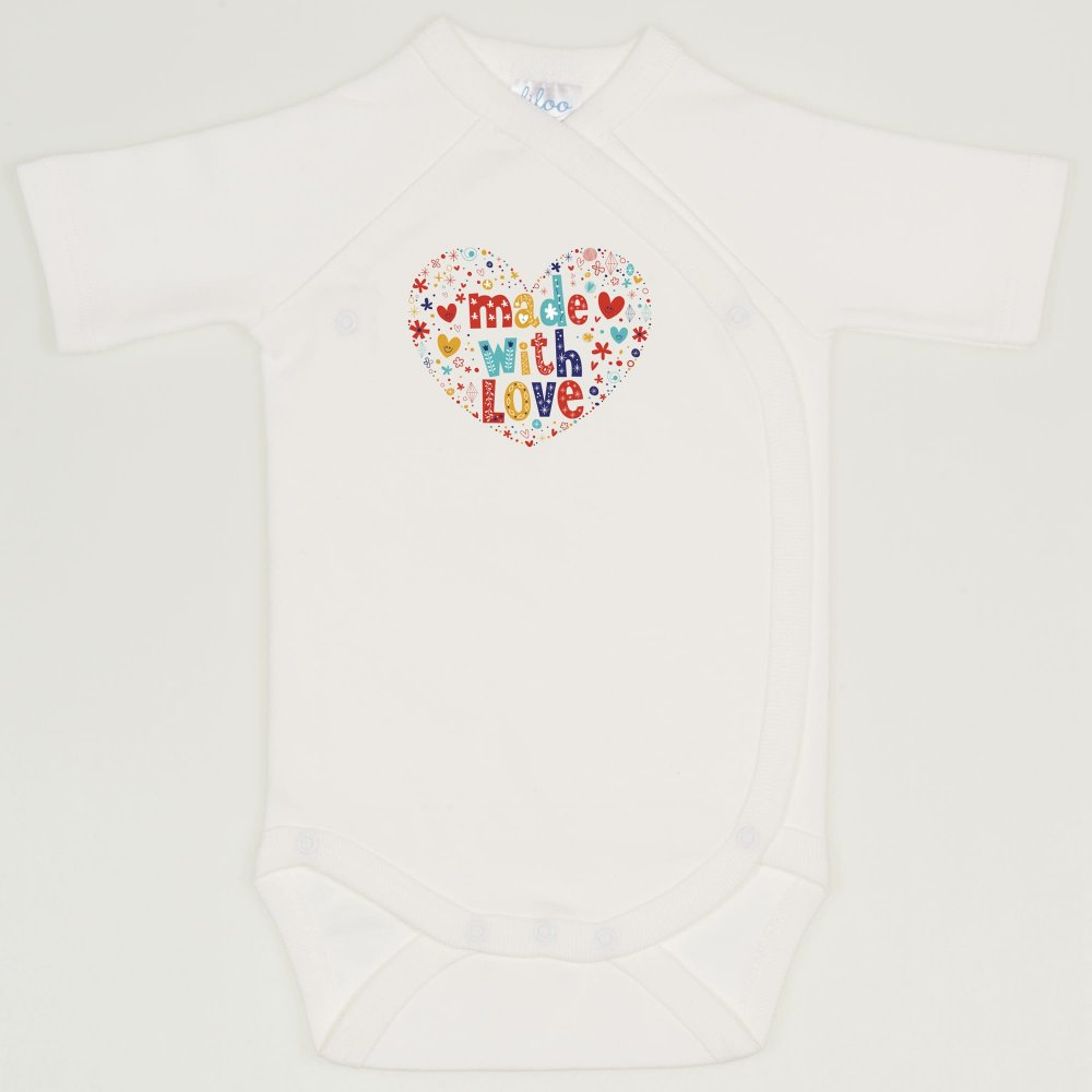 "Body capse laterale maneca scurta blanc de blanc imprimeu ""made with love"" 