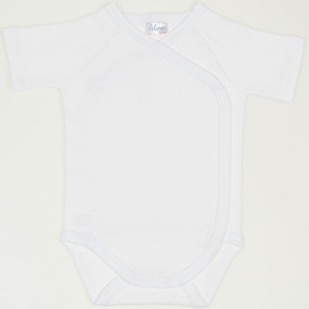 Body capse laterale mânecă scurtă alb simplu uni | liloo